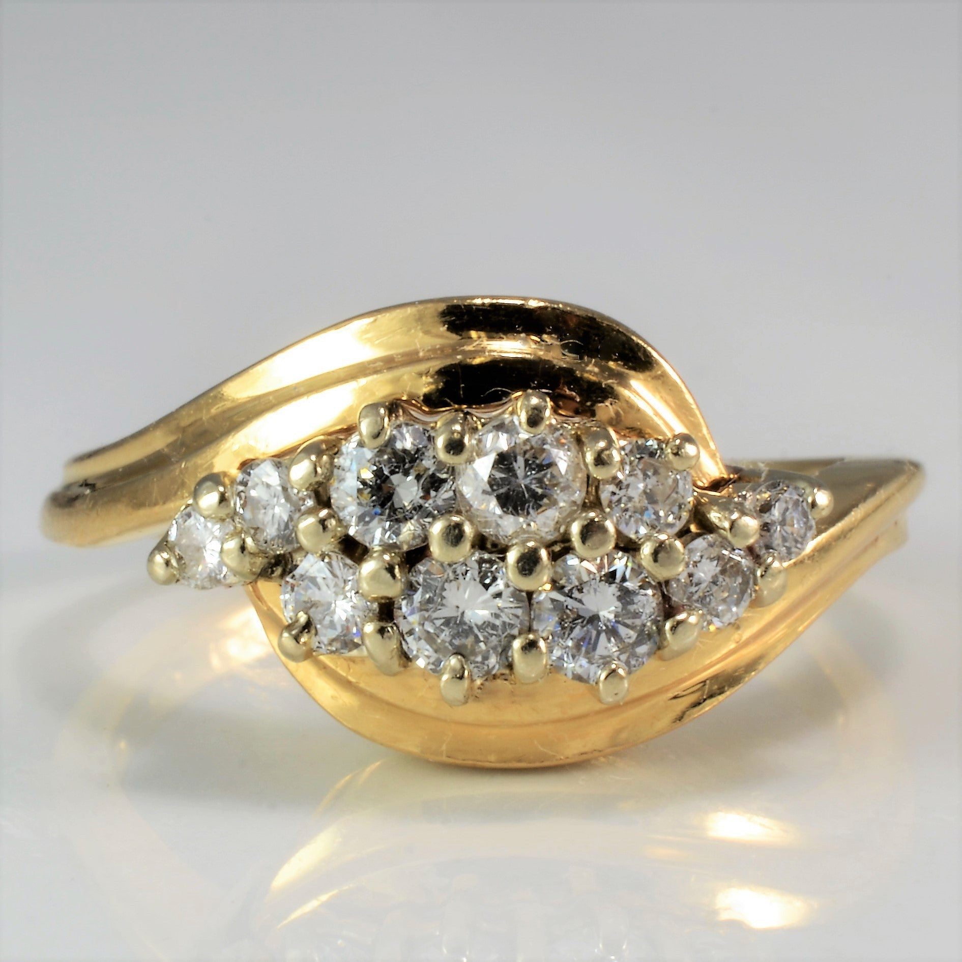 Diamond Cluster Bypass Wave Ring | 0.55 ctw, SZ 5.5 |