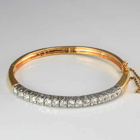Beautiful Pave Diamond Ladies Gold Bangle | 1.50 ctw, 7''|