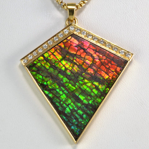 Unique Kite Shaped Ammolite & Diamond Pendant Necklace | 0.38 ctw, 18''|