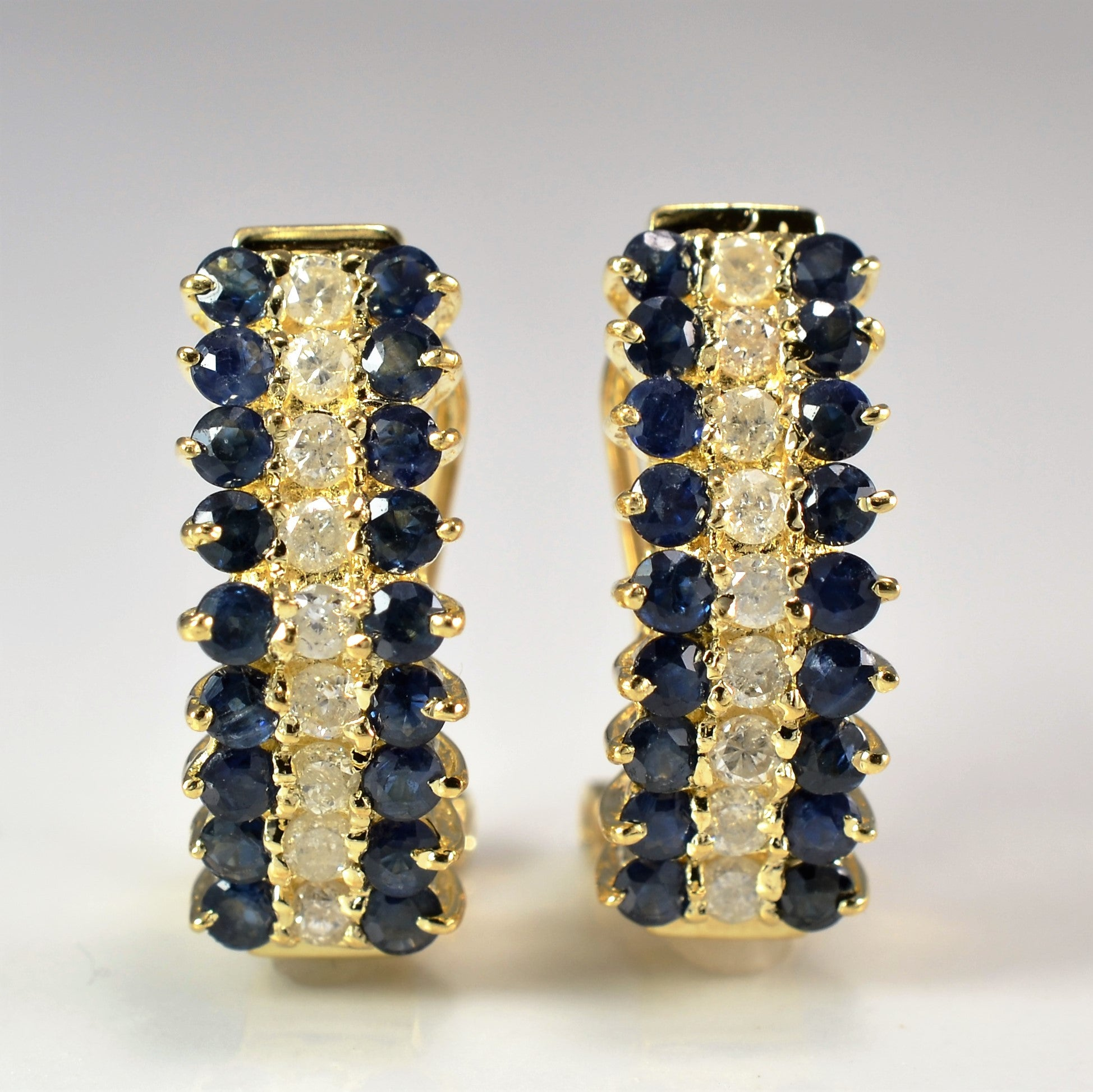 Diamond & Sapphire Half Hoop Earrings | 0.30 ctw |