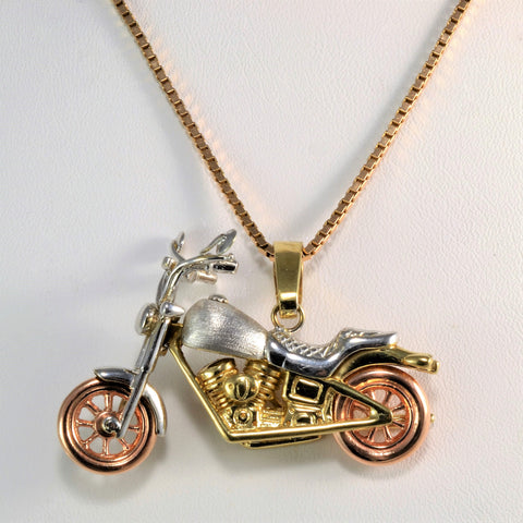 Unique Tri-Tone Gold Motorcycle Pendant Necklace | 20''|