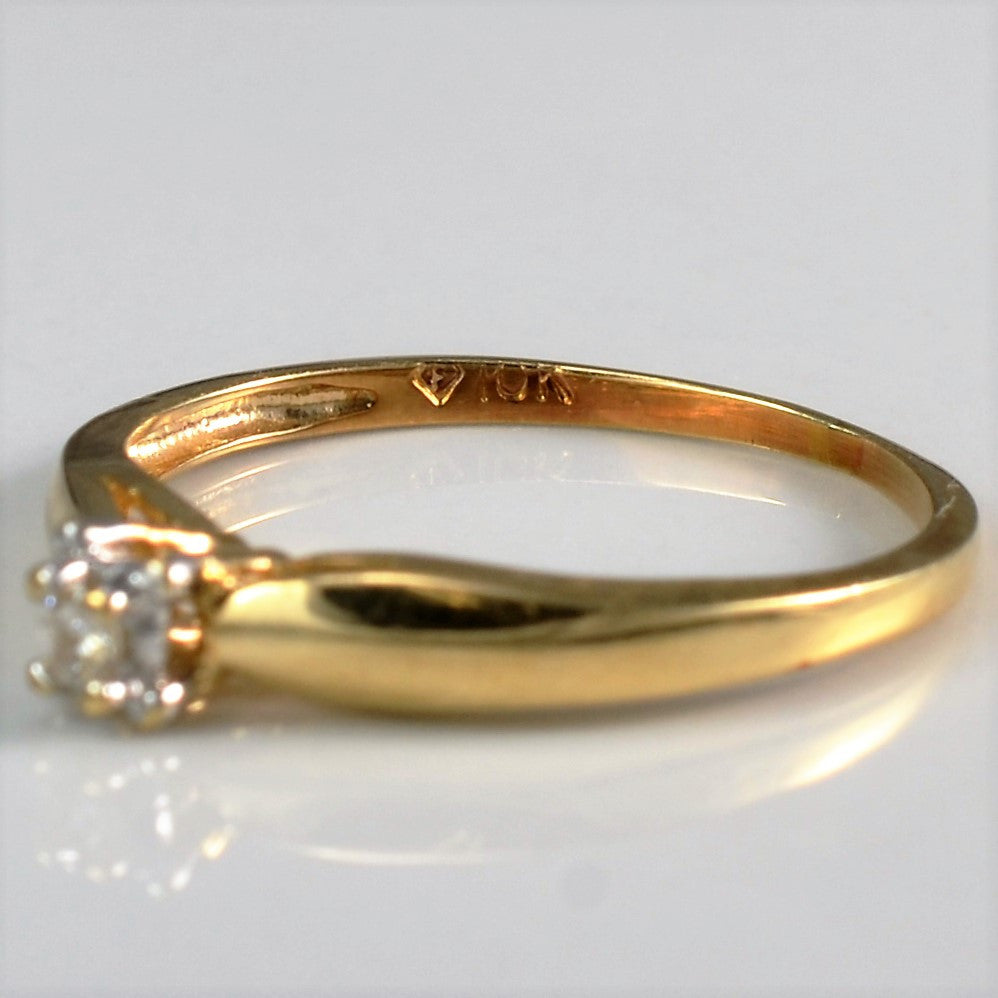 Tapered Yellow Gold Promise Ring | 0.03 ct, SZ 4.5 |