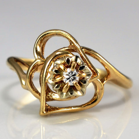 Abstract Rose Diamond Ring | 0.03ct, SZ 4.5 |