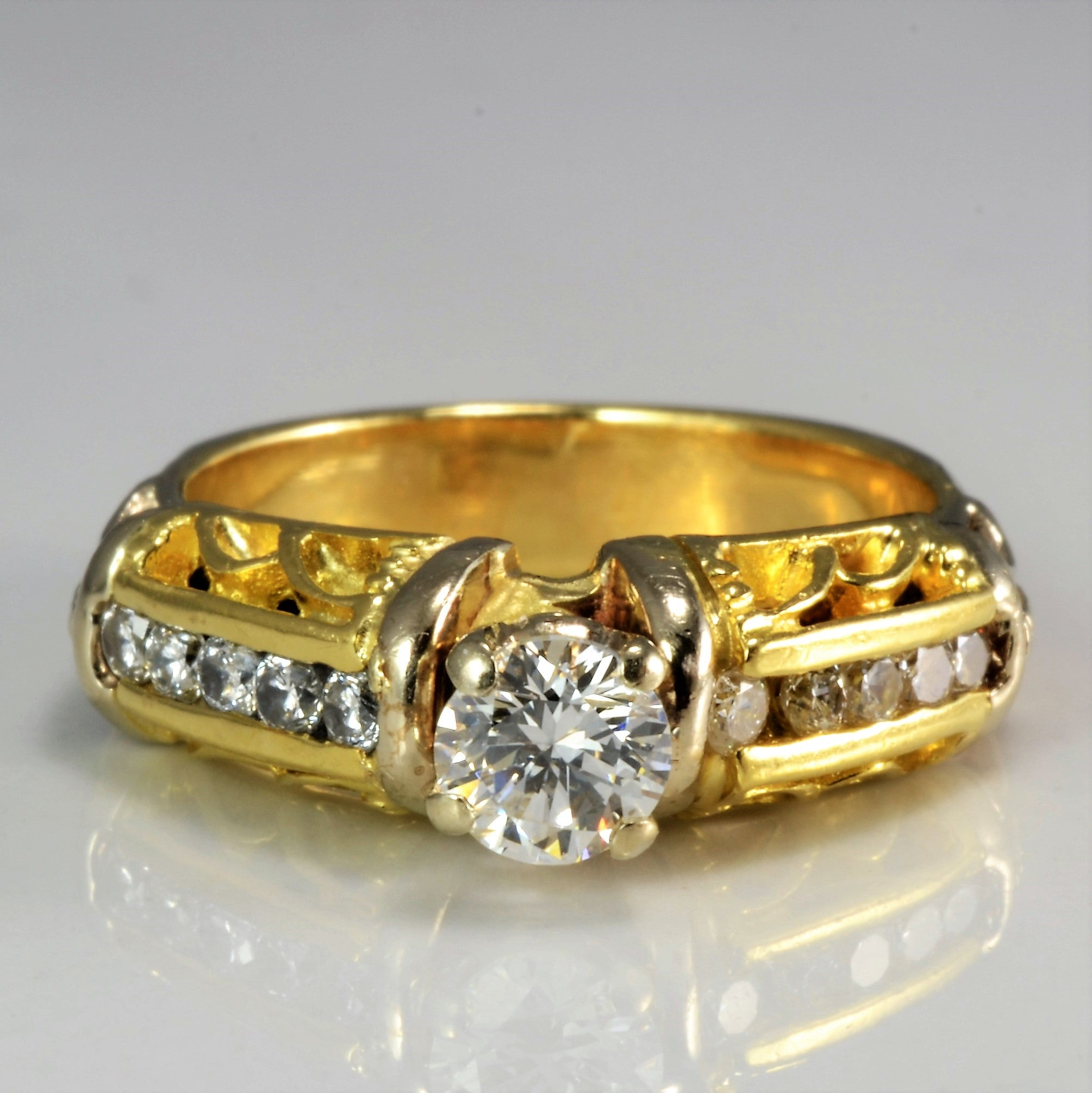 Two Tone Gold Diamond Engagement Ring | 0.53 ctw, SZ 4.75 |