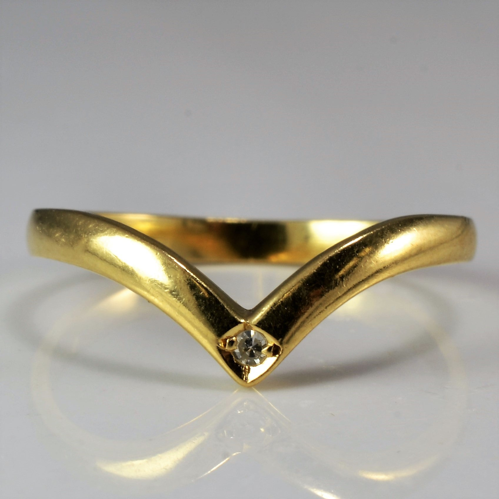 Solitaire Diamond Chevron Band | SZ 7 |