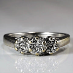 Triple Cluster Diamond Ring | 0.19 ctw, SZ 5 |