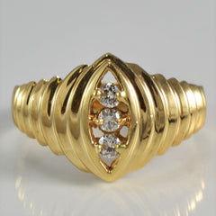 Retro Marquise Shaped Round Brilliant Diamond Ring | 0.10 ctw, SZ 5.75 |