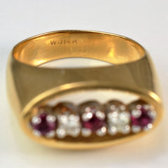 Open Oval Diamond & Ruby Ring | 0.10 ctw, SZ 5.5 |