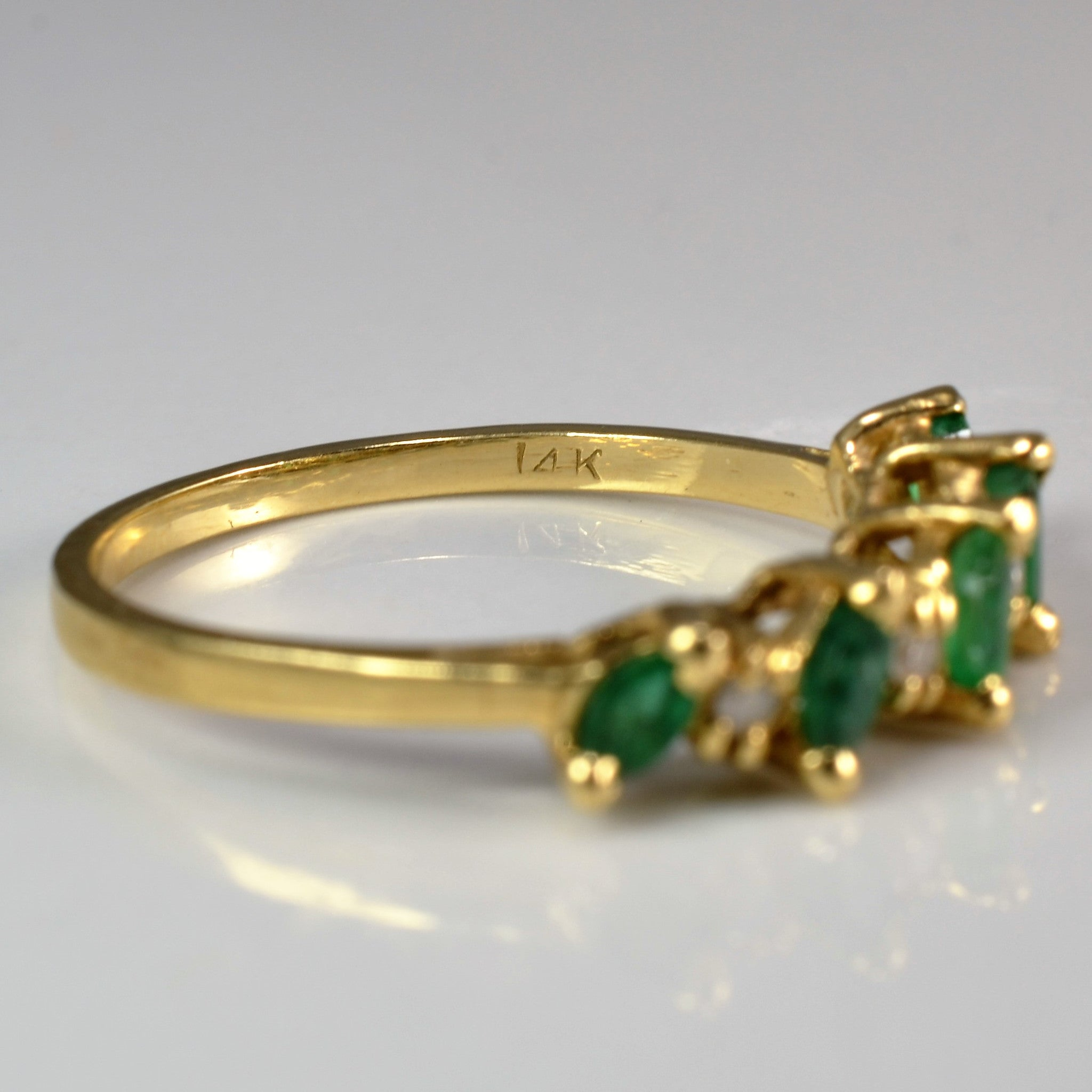 Marquise Emerald & Diamond Ring | 0.06 ctw, SZ 7.5 |