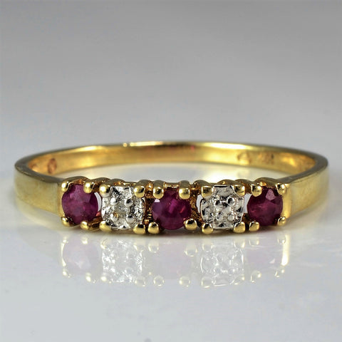 Alternating Diamond & Ruby Band | 0.02 ctw, SZ 9.25 |
