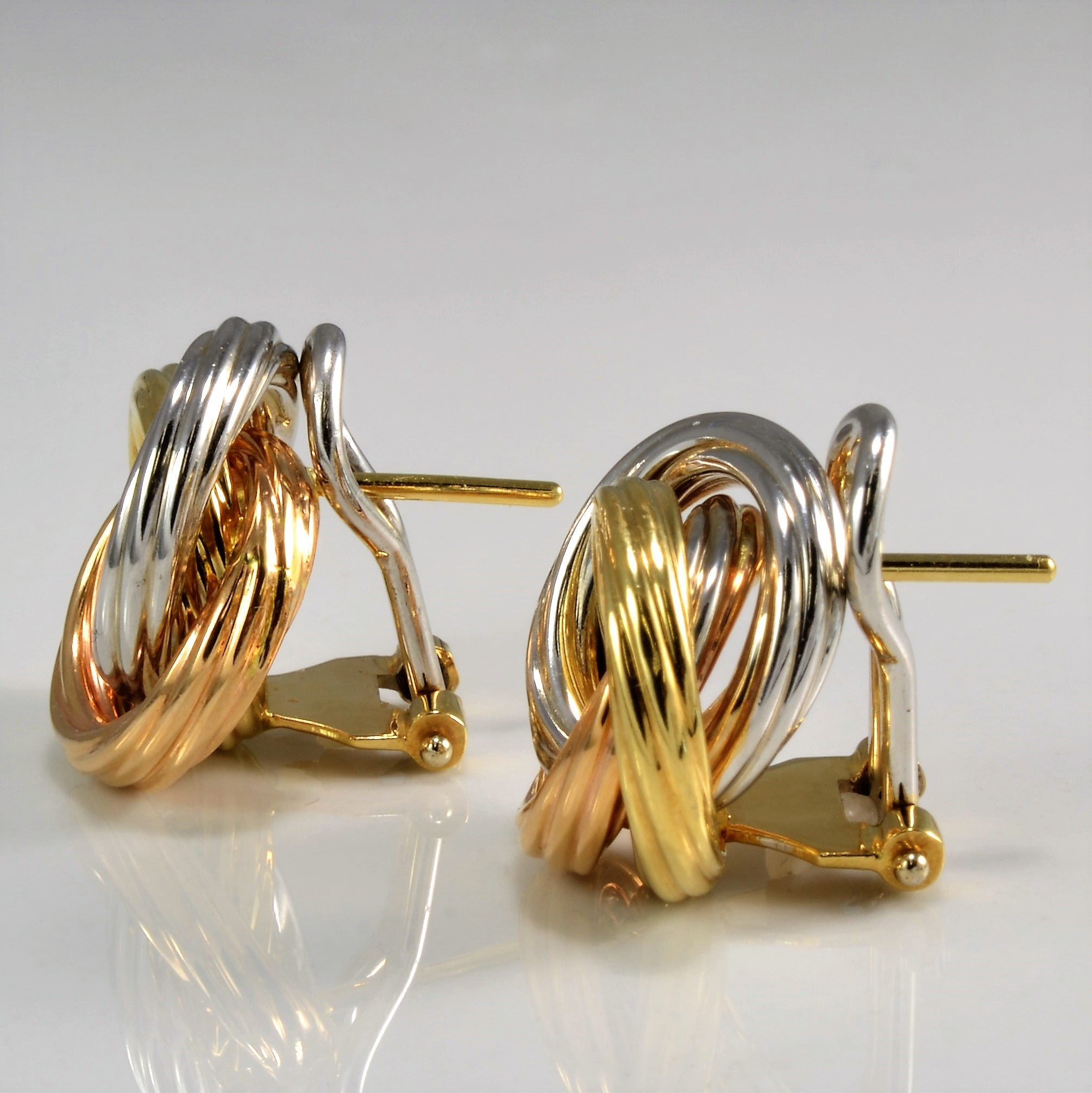 Trio Love Knot Earrings in 18K Tri-Color Gold