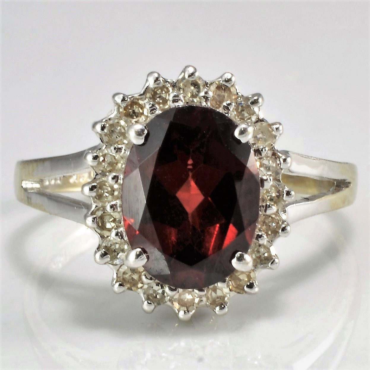Oval Cut Garnet & Diamond Ring | 0.10 ctw, SZ 4 |