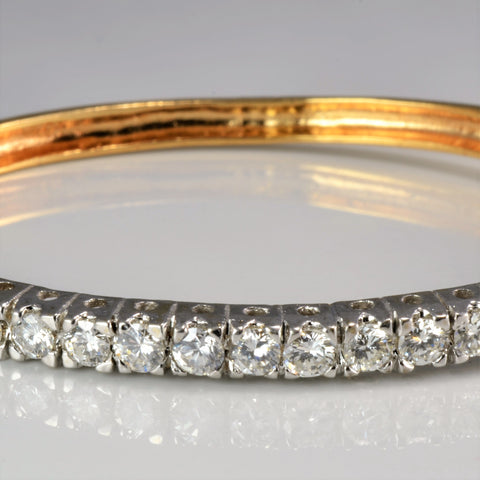 Beautiful Pave Diamond Ladies Gold Bangle | 2.00 ctw, 7''|