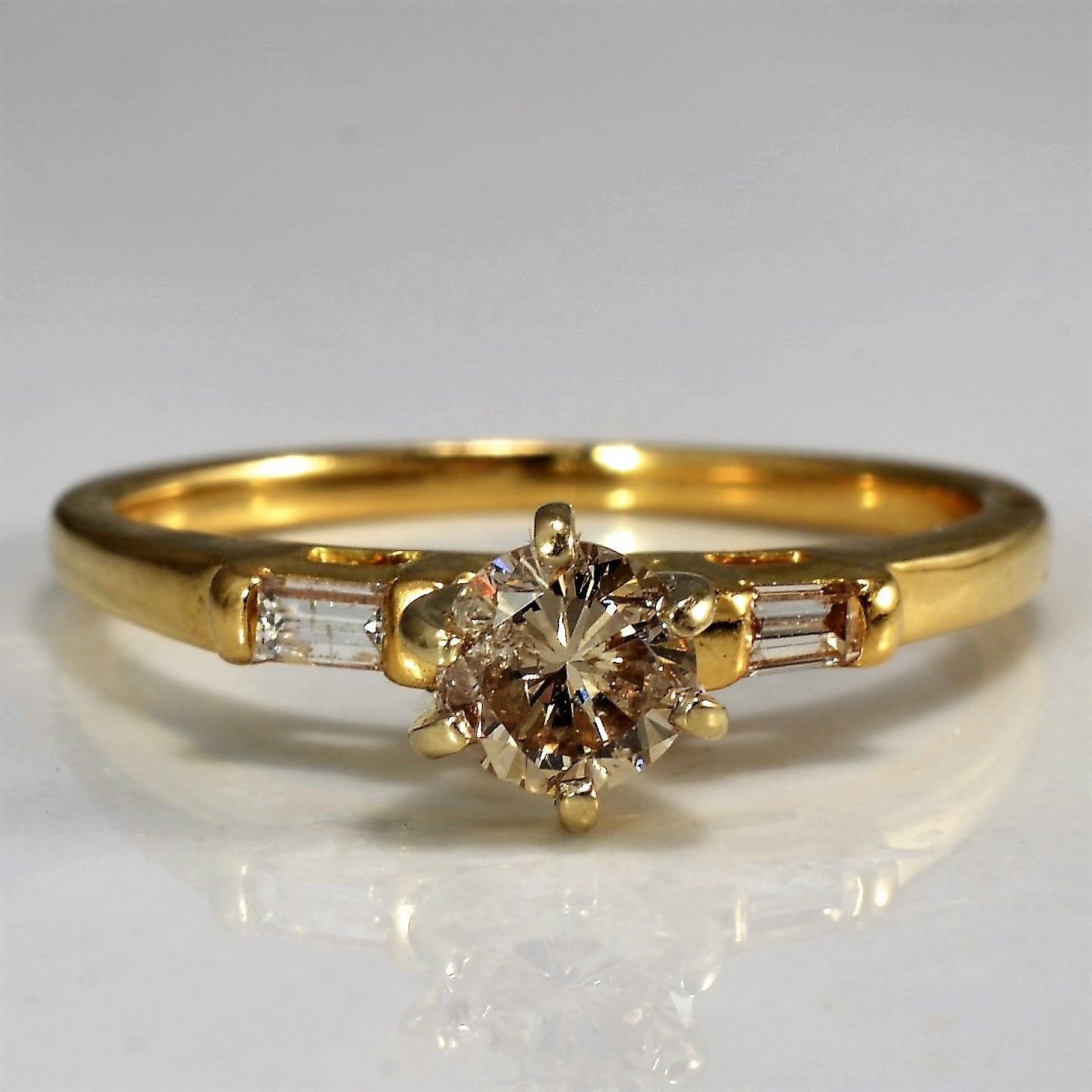Six Prong Baguette Accented Engagement Ring | 0.40 ctw, SZ 6 |