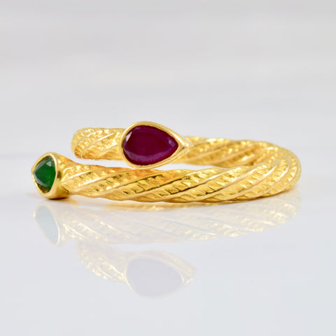 Ruby and Emerald Bypass Ring | SZ 7 |