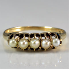 Vintage Victorian Era Five Pearl Ring | SZ 7 |
