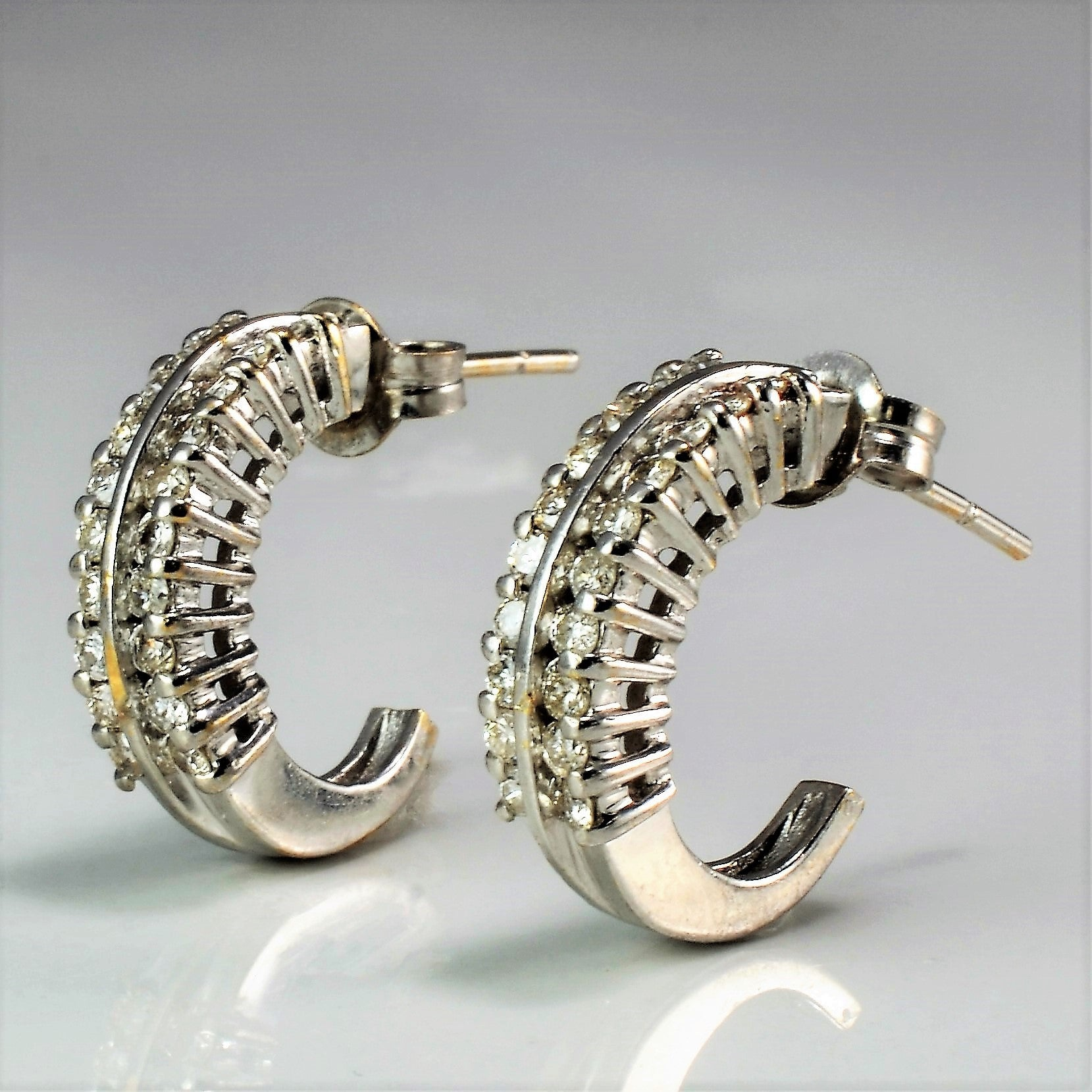 Double Row Diamond Half Hoop Earrings | 0.40 ctw |