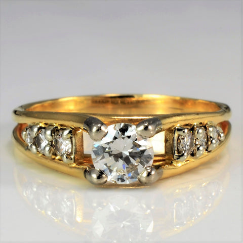 High Set Four Prong Diamond Ring | 0.59 ctw, SZ 6.75 |
