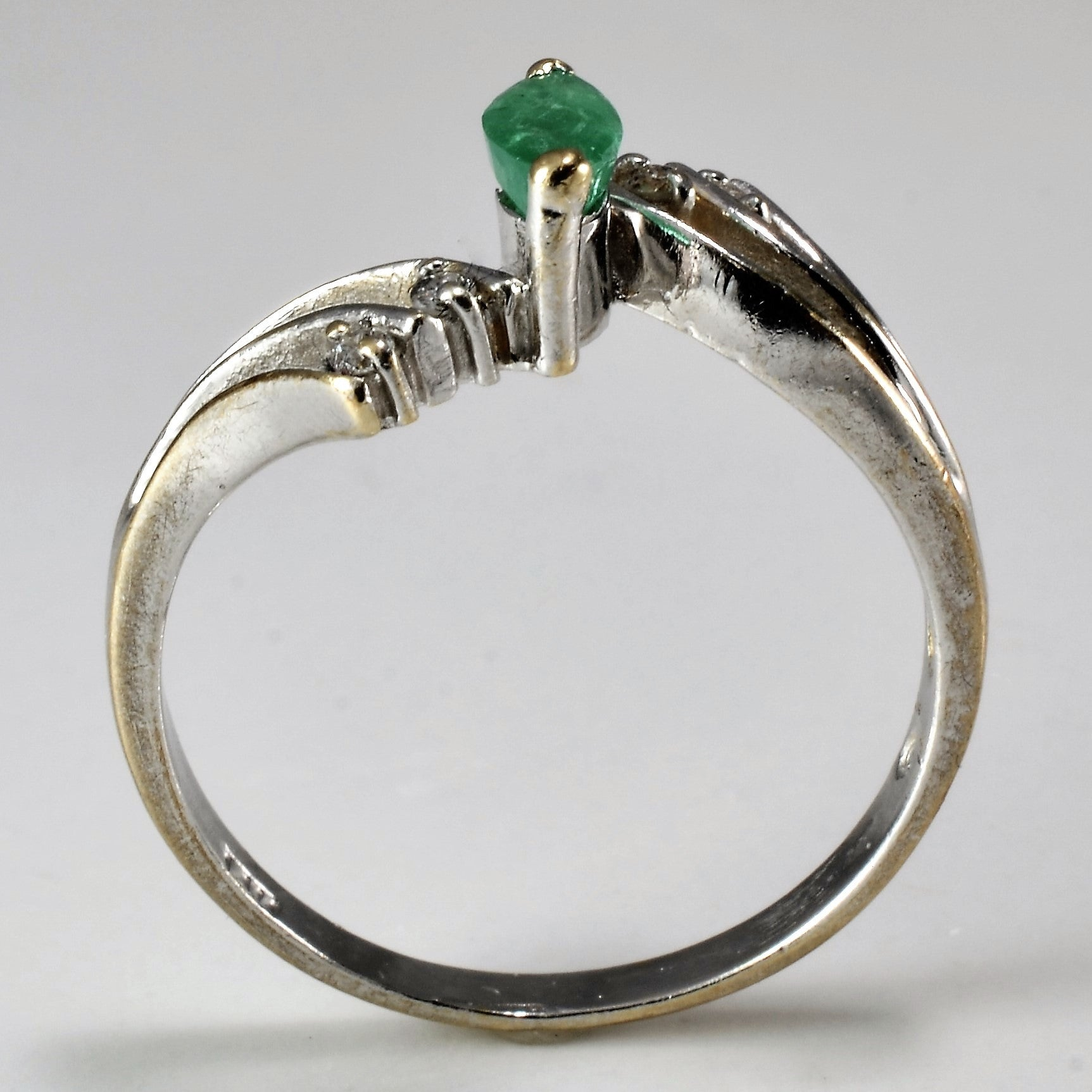 Beautiful Bypass Emerald & Diamond Ring | 0.04 ctw, SZ 6.75 |