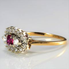 Diamond & Ruby Cluster Engagement Ring | 0.28 ctw, SZ 5 |