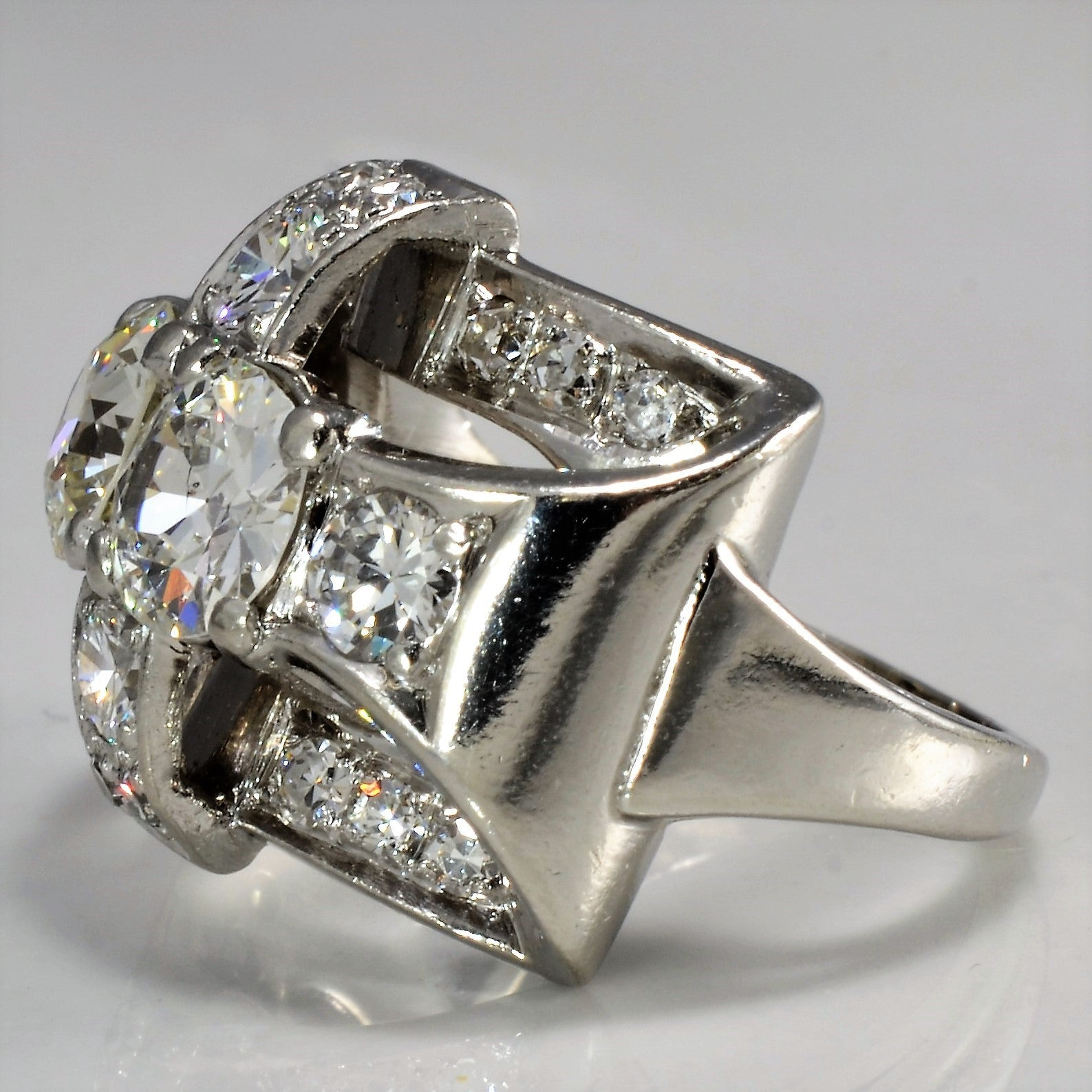 Two Stone Art Deco Engagement Ring | 1.86 ctw, SZ 4 |