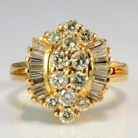 Fancy Multi Channel Diamond Cluster Ring | 1.12 ctw, SZ 5.75 |