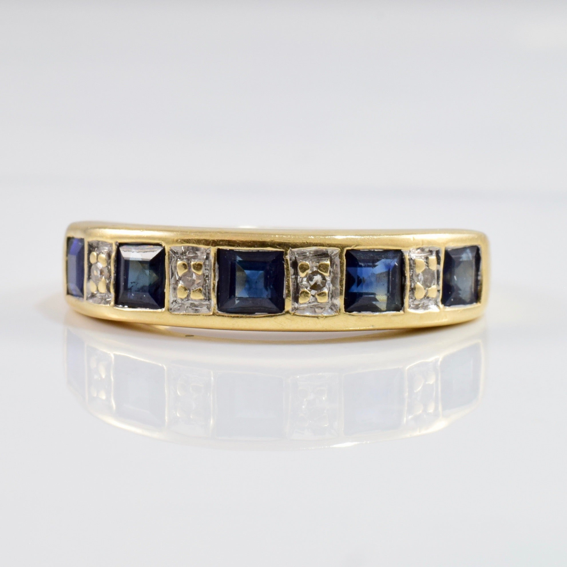 Alternating Sapphire and Diamond Band | 0.02 ctw SZ 6.25 |