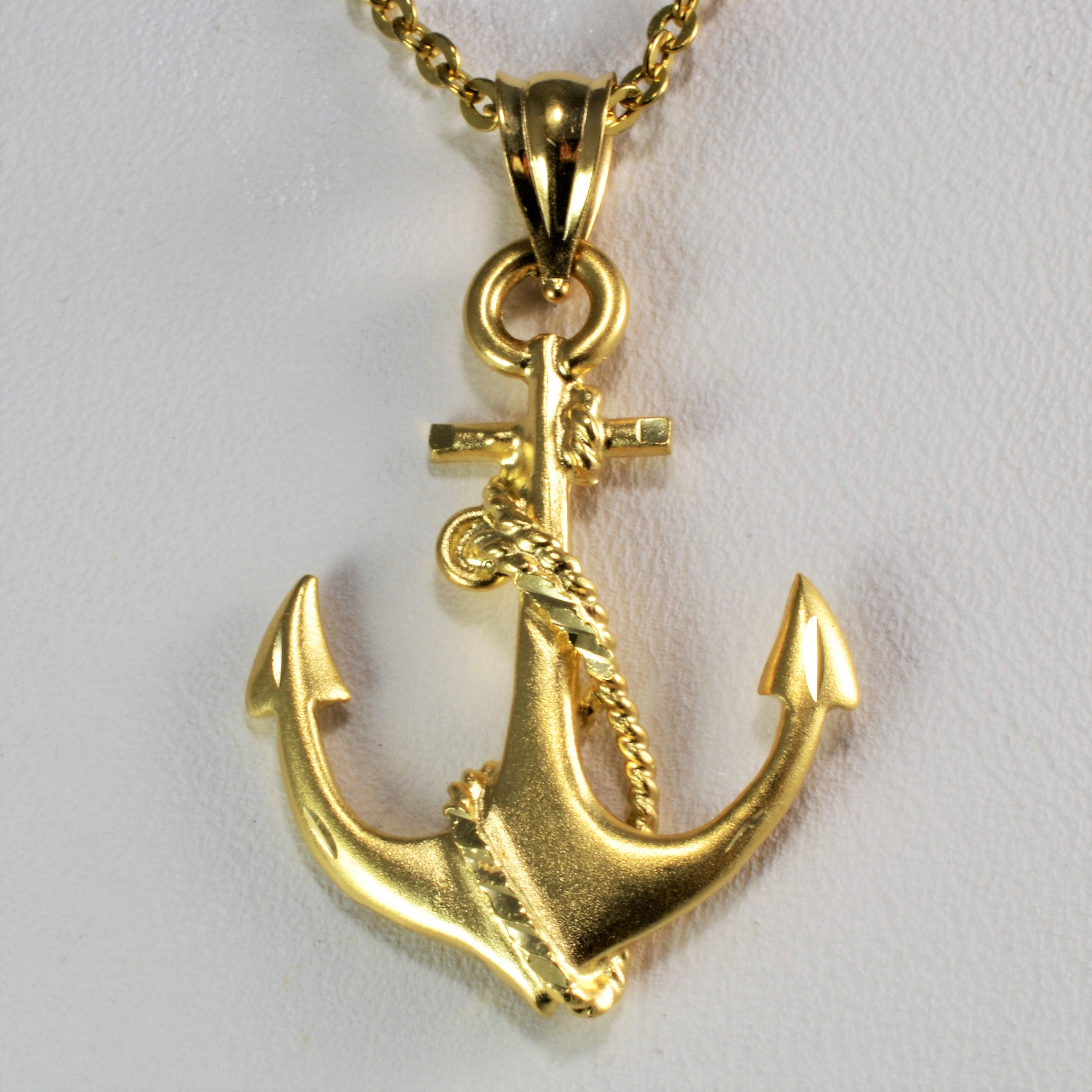 14K Yellow Gold Anchor Pendant Necklace 22 100 Ways