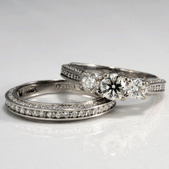 Matching Three Stone Diamond Wedding Set | 1.68 ctw, SZ 6 |