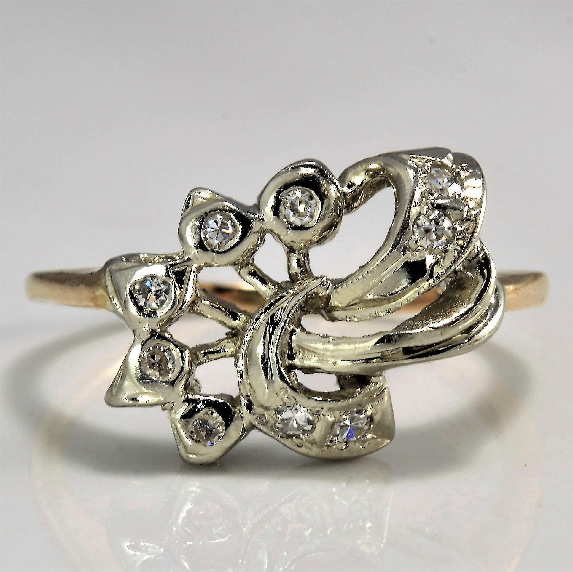 Vintage Twisted Diamond Abstract Ring | 0.12 ctw, SZ 7 |