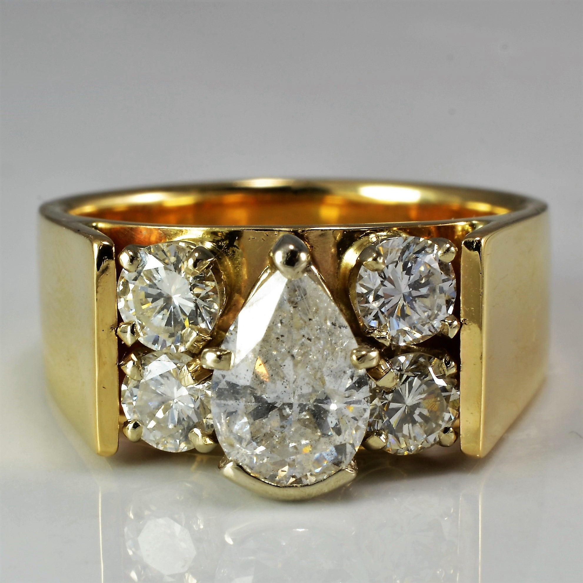 Wide Band Pear Diamond Engagement Ring | 1.57 ctw, SZ 7 |