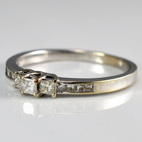 Petite Three Stone Princess Diamond Ring | 0.40 ctw, SZ 10 |
