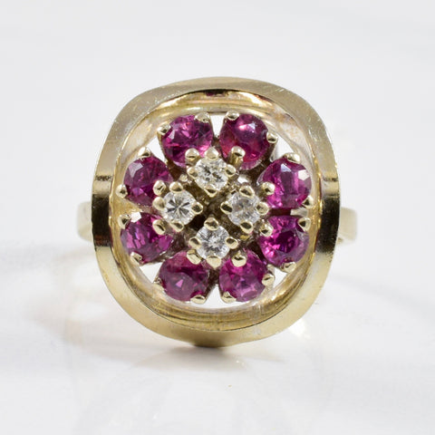 Ruby & Diamond Cluster Ring | 0.12ctw, 0.80ctw | SZ 4.75 |
