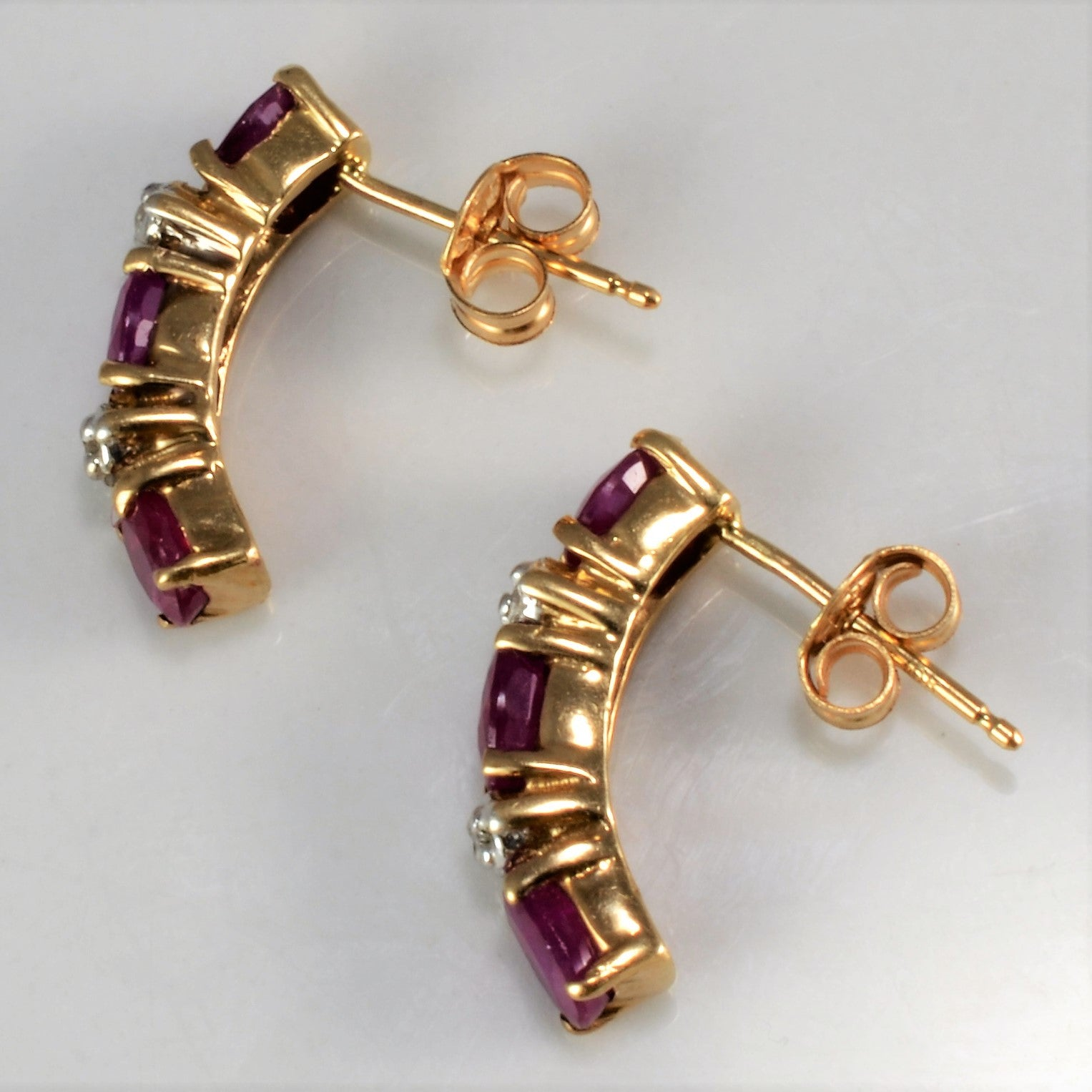 Ruby & Natural Diamond Gold Stick Earrings