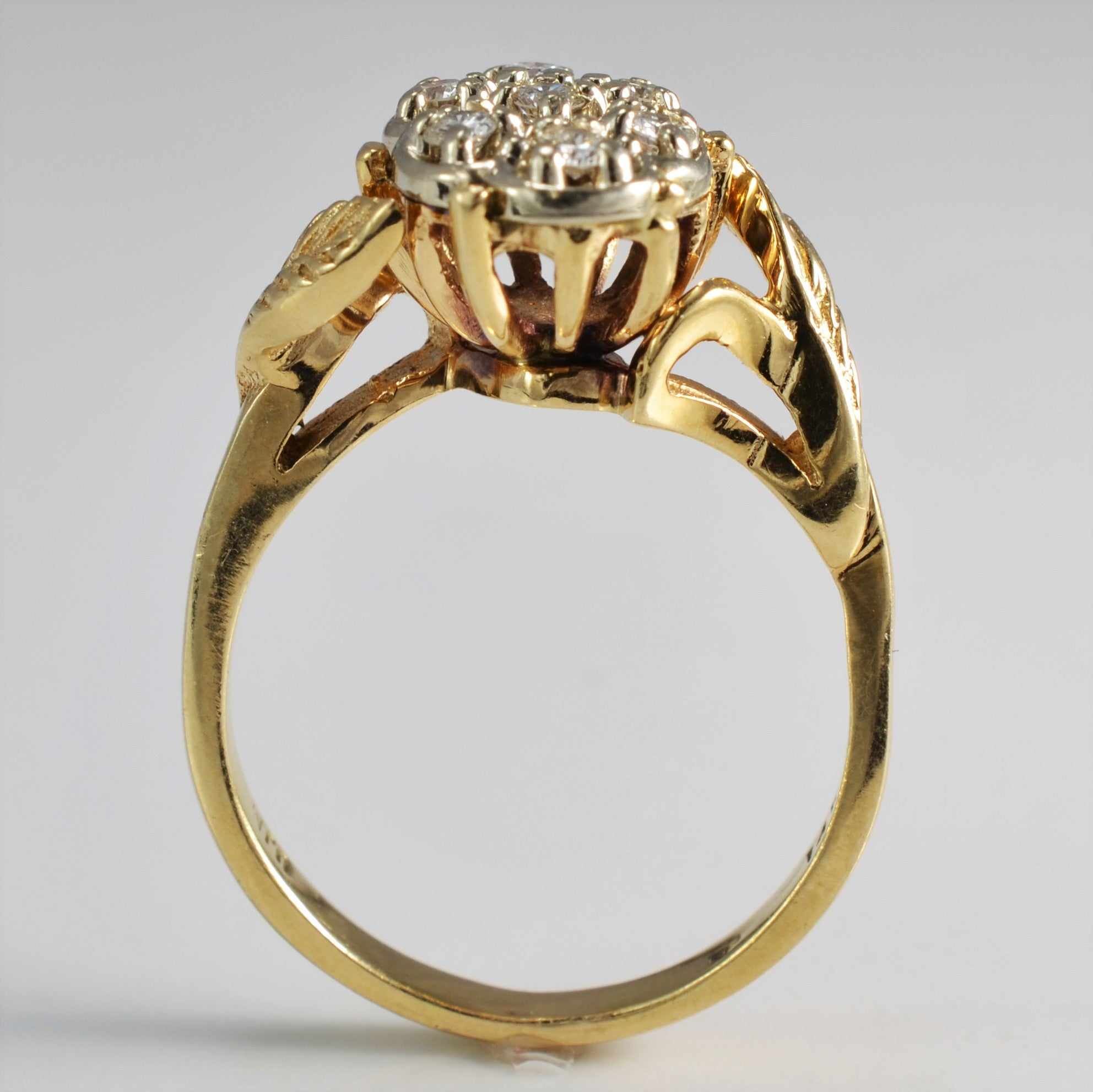 Leaf Detailed High Set Cluster Ring | 0.21 ctw, SZ 6.75 |