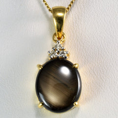 Unique Star Sapphire & Diamond Drop Pendant Necklace | 0.05 ctw, SZ 20''|