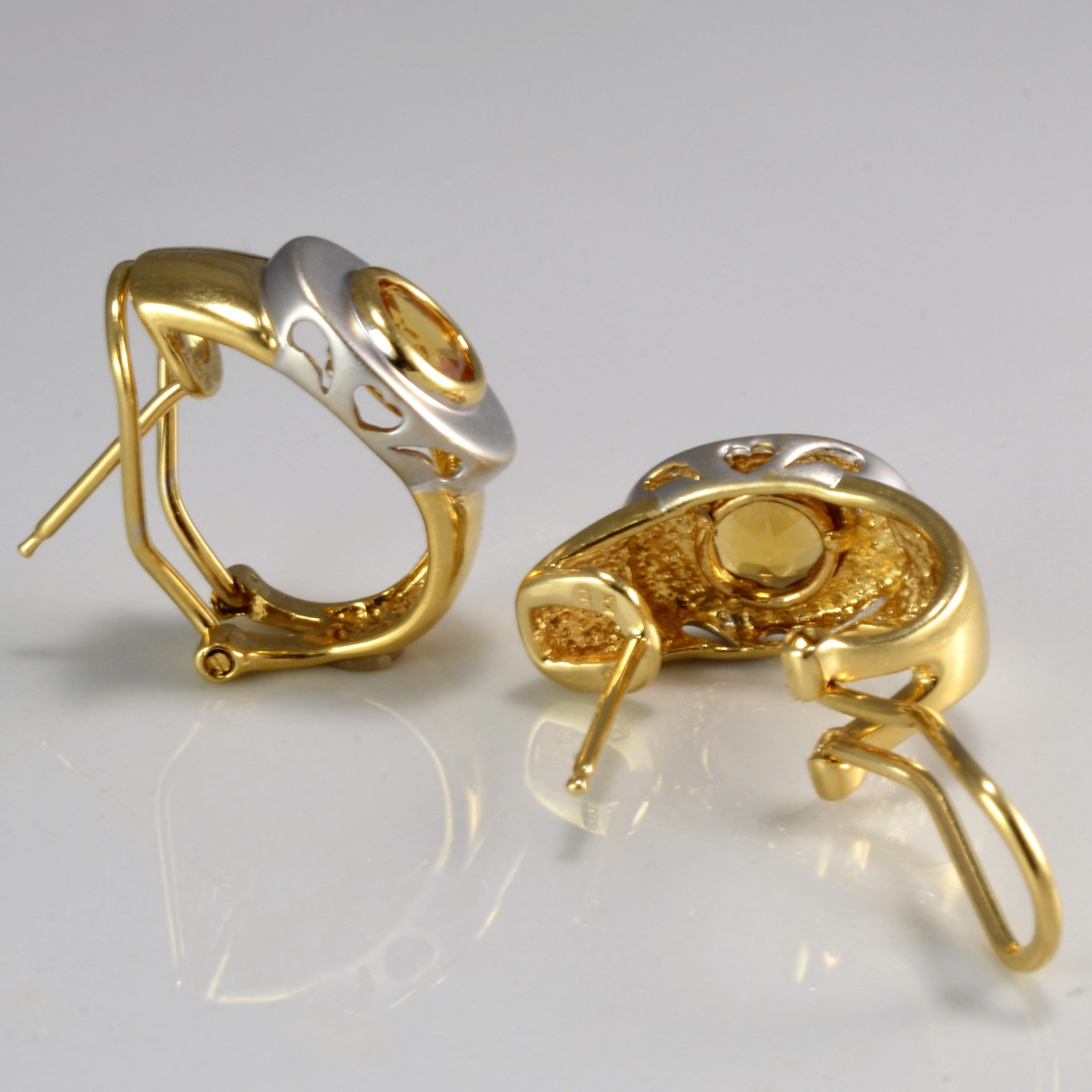 Two Tone Gold Citrine Clip Earrings | 1.00 ctw |