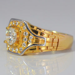 Wide Two Tone Unisex Diamond Ring | 0.80 ctw, SZ 8.5 |