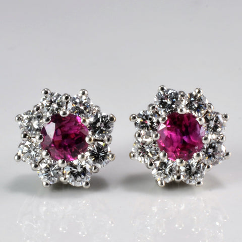 Cluster Diamond & Ruby Floral Stud Earrings | 0.64 ctw |