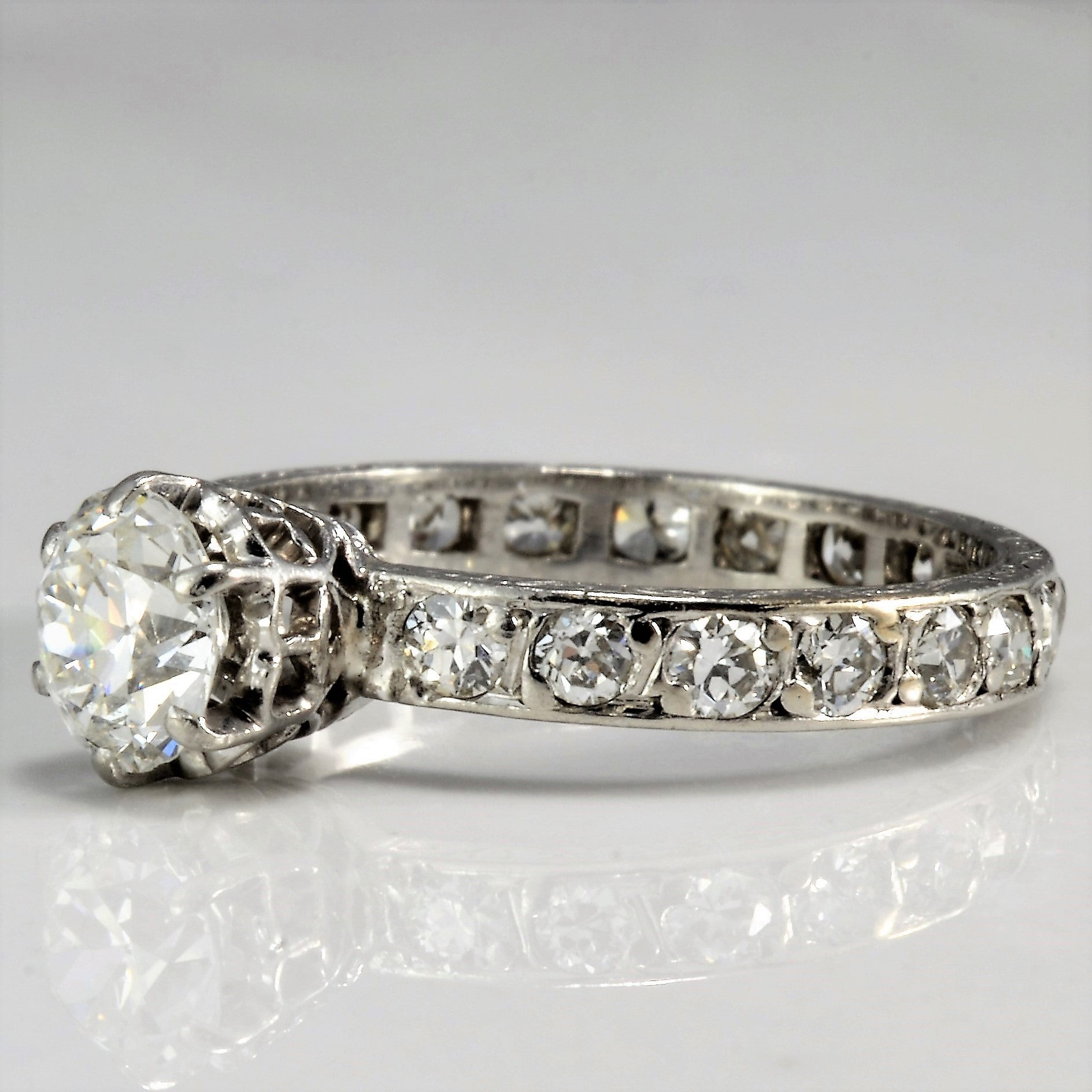 Old European Cut Eternity Band Engagement Ring | 1.10 ctw, SZ 5.5 |