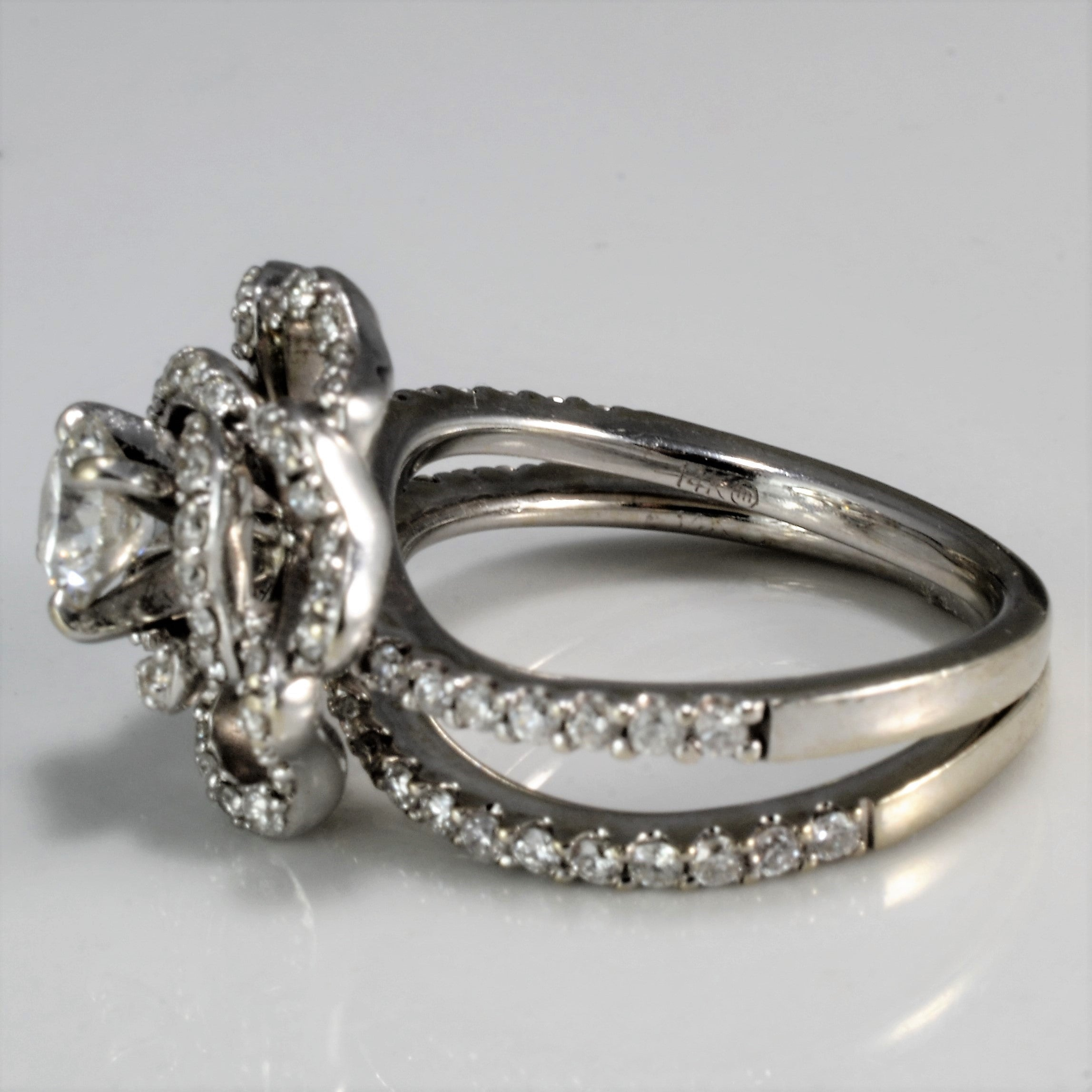 Floral Pave Diamond Wedding Set | 1.17 ctw, SZ 5.75 |