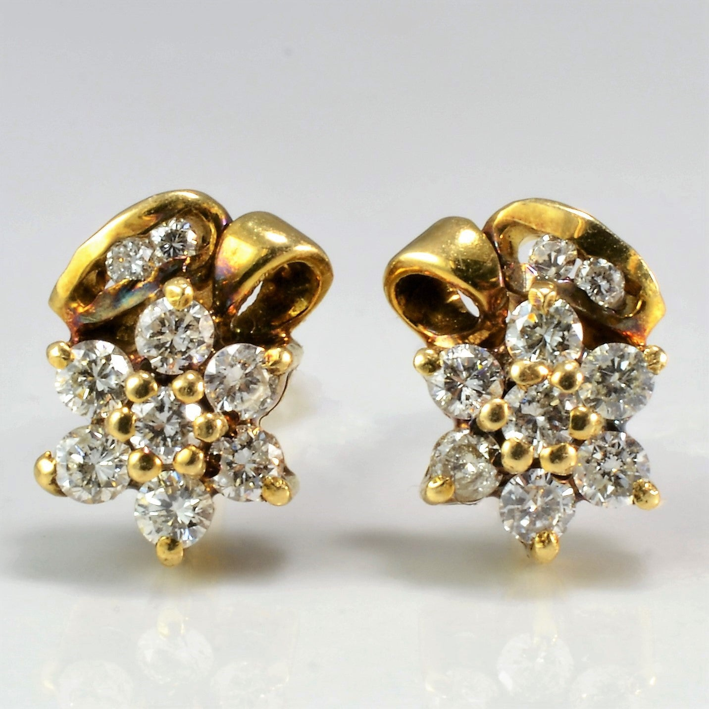 Beautiful Flower Design Diamond Stud Earrings | 0.32 ctw |