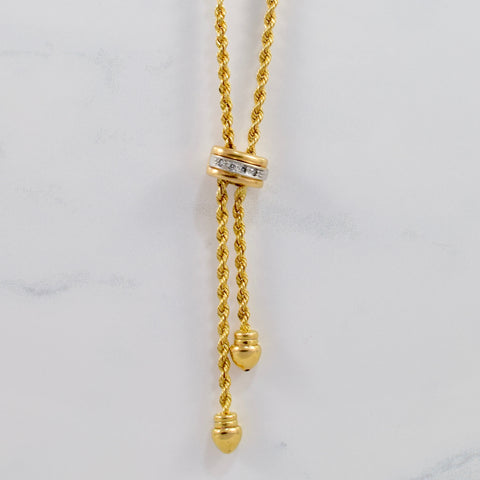 Rope Chain and Diamond Drop Pendant | 0.08 ctw SZ 19"