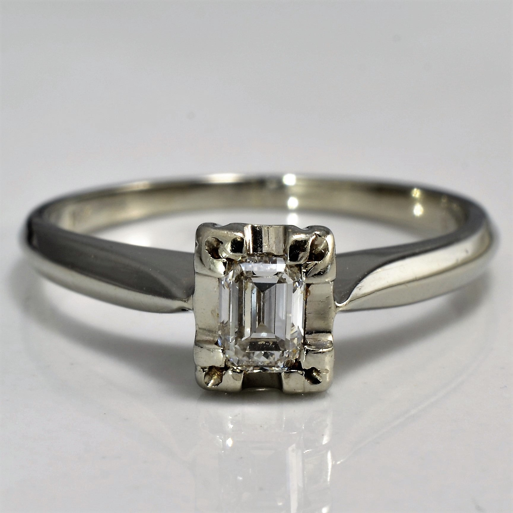 Illusion Emerald Cut Solitaire Engagement Ring | 0.25 ct, SZ 5 |