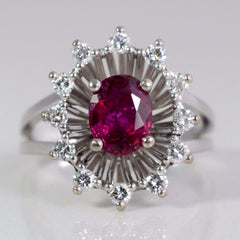 Split Shank Ruby Ring With Diamond Halo | 0.36 ctw, SZ 6.5 |