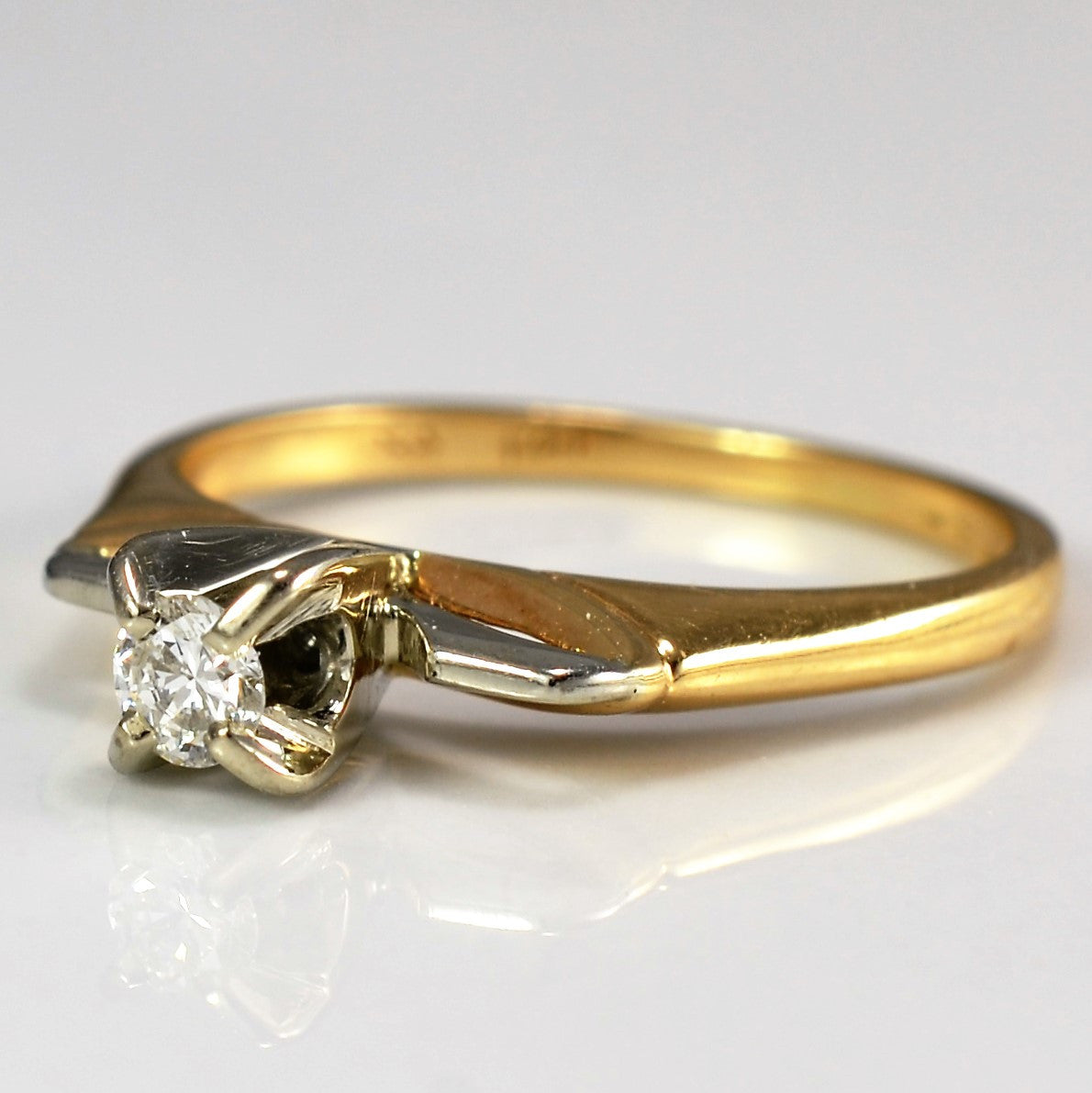 Retro Diamond Solitaire Engagement Ring | 0.08ct | SZ 4 |