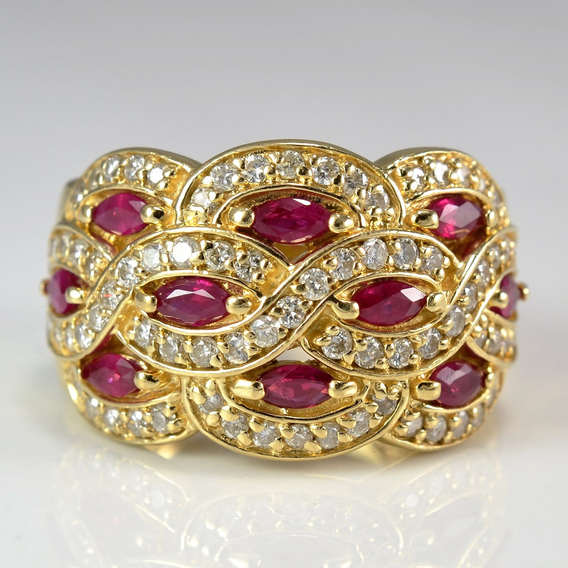 Ruby & Diamond Woven Cocktail Ring | 0.50 ctw, SZ 7.25 |