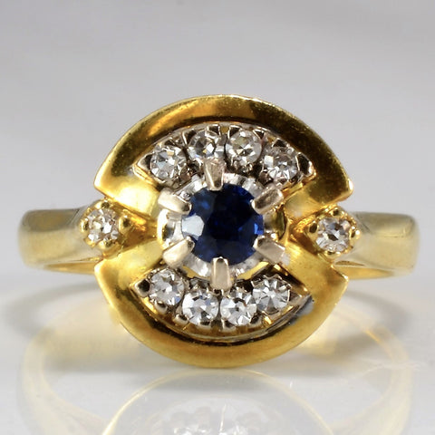 Unique Sapphire & Diamond Engagement Ring | 0.10 ctw, SZ 4.5 |