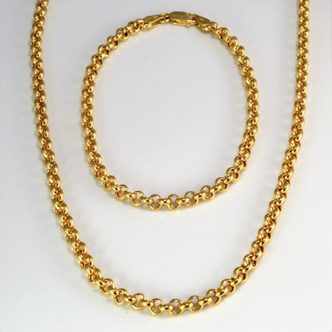Rolo Chain Necklace & Bracelet Matching Set