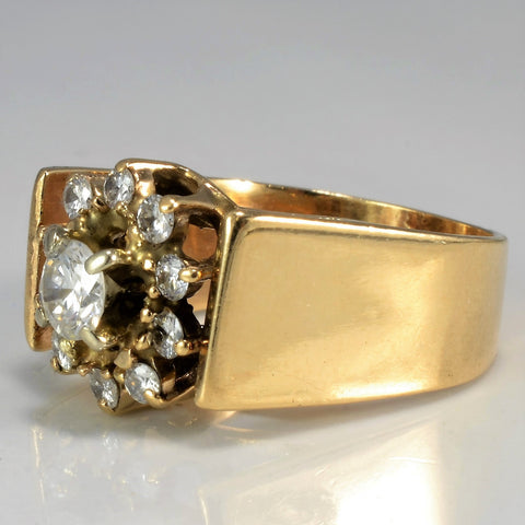 Floral Diamond Cluster Wide Ring | 0.52 ctw, SZ 4.75 |